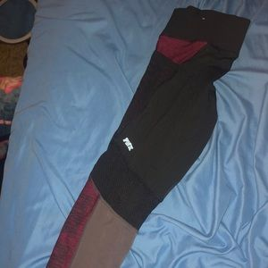 black and maroon vs pink leggings size s